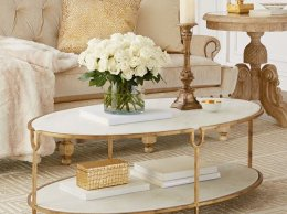 Global Views Olivia Marble-Top Coffee Table Gold marble coffee tables fall holidays horchow