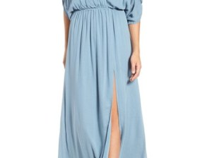 Lovers + Friends 'Effortless' Cold Shoulder Maxi Dress Dusty Blue maxi dresses for fall