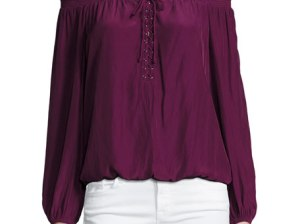 Ramy Brook Jill Off-the-Shoulder Lace-Up Blouse Sangria