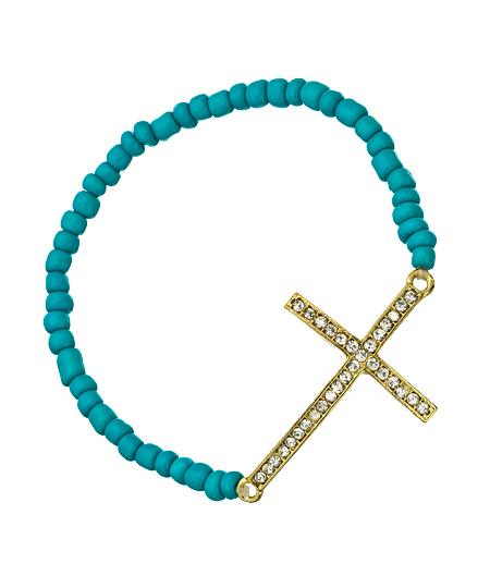 Blu Bijoux 08022012 087 turquoise bead gold diamond cross bracelet L Sale Alert! Max&Chloe Jewelry Labor Day Sale Favorites! 