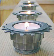 bicycle part candle holder