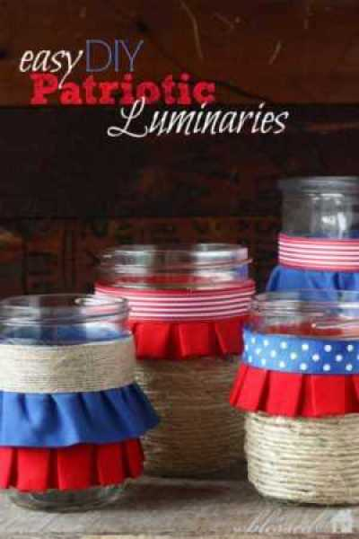 Fourth of July Ribbon Luminaries