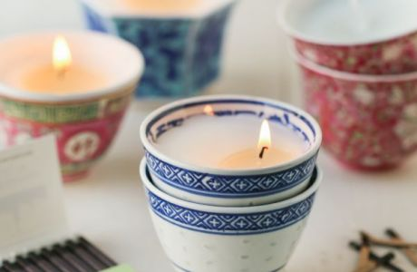 DIY Asian Tea Cup Candles