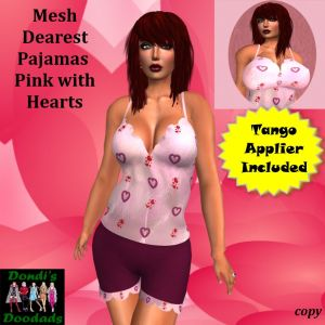 DD Mesh Dearest Pajamas Pink with Hearts