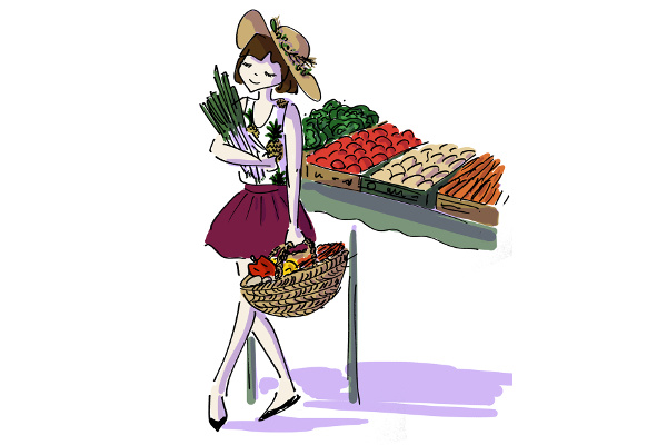 Girl buying fresh produce at Ferikoy organic market