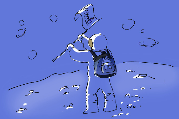 Girl travelling in space with her Niyo backpack