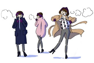 Girl wearing different winter coats