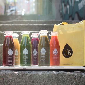 Bottles of JÜS on Cihangir stairs