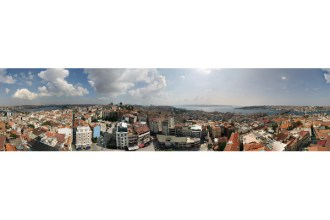Panoramic 360° view from top of Istanbul's Galata Tower