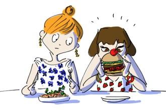 Girl eating burger in new Etiler cafe Piccolo