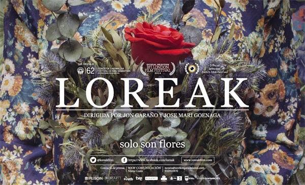 Cartel promocional de Loreak (flores), una de las desconocidas por nosotros se cuela en varias nominaciones