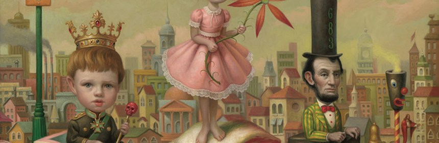 Mark Ryden  The Meat Train (No. 23), 2000 Oil on canvas 17 x 23 inches Private Collection © Mark Ryden