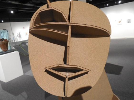 """Michael Kodysz, """"Constructivist Self-Portrait."""" Form core, primer, glue, spray paint."""