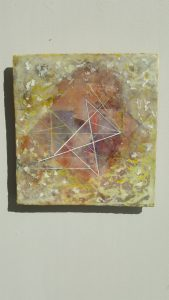 Star / Spin, encaustic and oil stick on panel, by Susan Squires