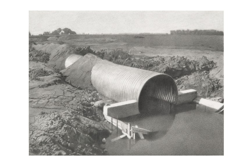 """Culvert,"" Charles Kanwischer, graphite on panel"