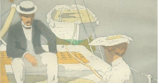 """Yachting, 1903. Raoul du Gardier (1871-1952). Color aquatint and etching on wove paper; 13 1/2 x 9 3/5 in. Signed and numbered """"40/50"""" in pencil.Donated by Armstrong Fine Art."""