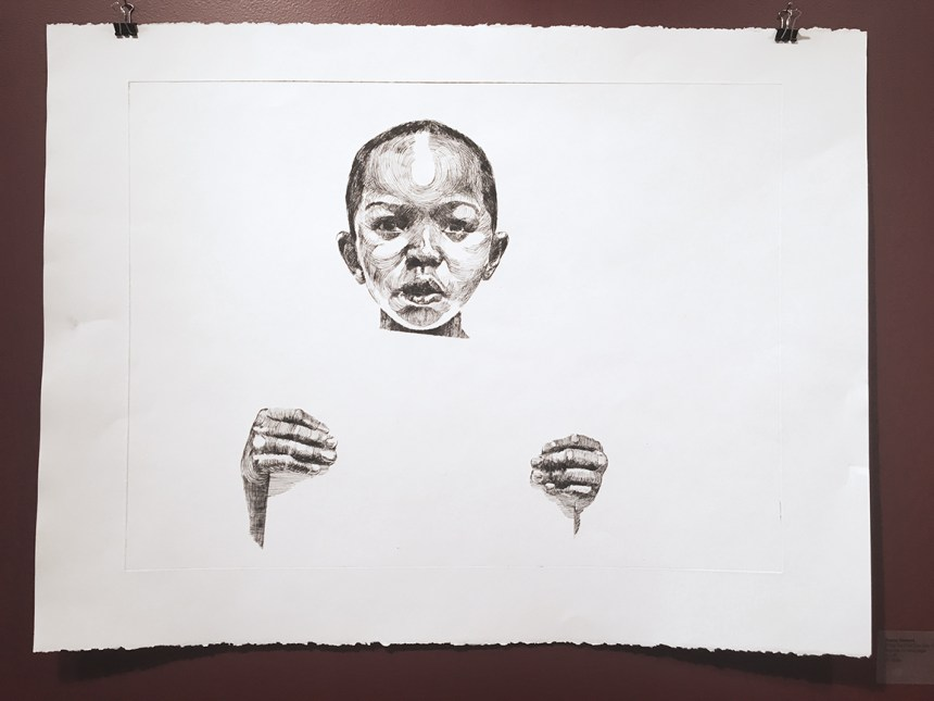 "Darius Steward, If You too Cool You Lose #1, Drypoint on wove paper, 30"" x 22"""