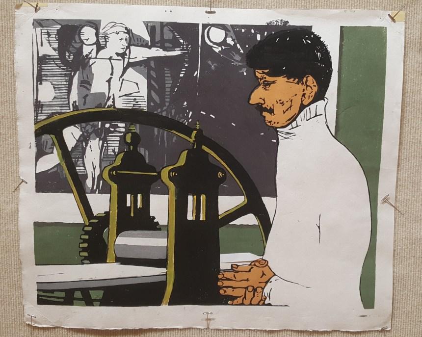 Mauricioo Lasanski, Intaglio Master (Lasansky), 2010 color wood block print by Paul Arnold