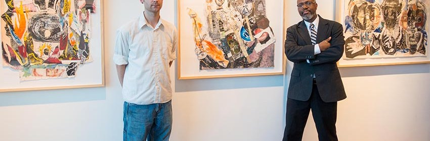 Jason K. Milburn (left) and Dexter Davis (right) at Davis's exhibit at William Busta Gallery on Prospect Avenue