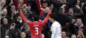 Patrice Evra Celebrating with Stretford End