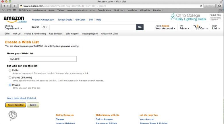 tela Amazon wish list criar