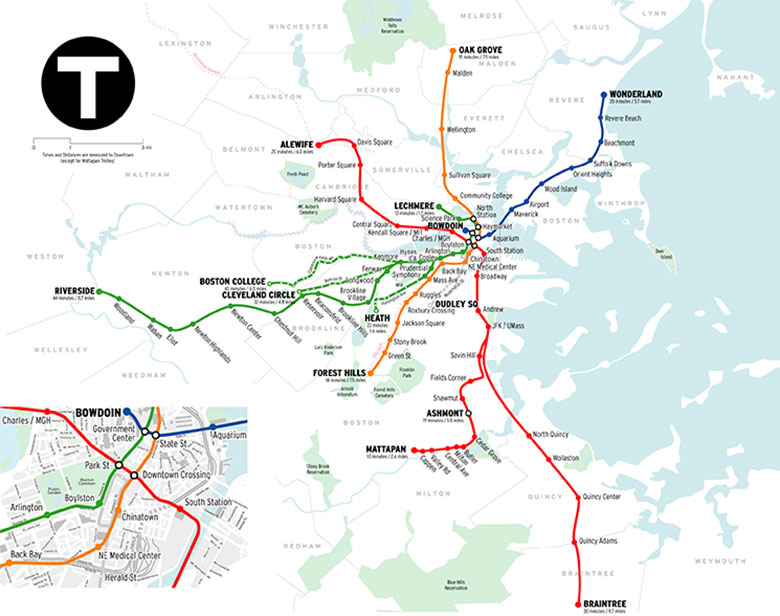 Mapa do metrô em Boston