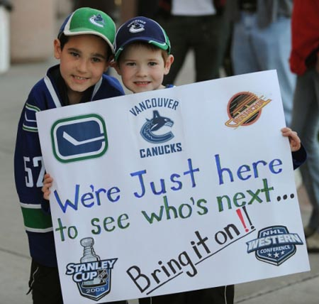 Canucks fans in Anaheim