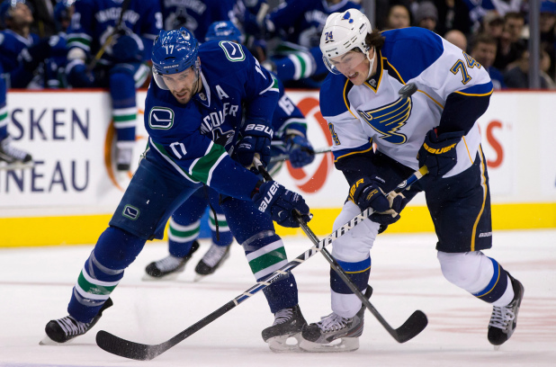 7th in the Western Conference, our Canucks, take on 2nd in the conference the St.Louis Blues tonight at Rogers Arena.  (Photo Credit The Canadian Press)