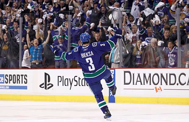 Kevin Bieksa scores in OT to beat the San Jose Sharks and propel the Canucks to the Stanley Cup Finals.