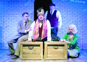 Joe Kendere, from left, as Richard Hannay, Kevin Kelly as Clown No. 1, Michael Prosen as Clown No. 2 and Rachael Swartz as Annabella/Pamela/Margaret. PHOTO | Andy Dudik