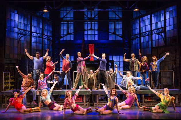 "Patty Lohr, far right top-tier, and the ""Kinky Boots"" national tour ensemble. Photo 