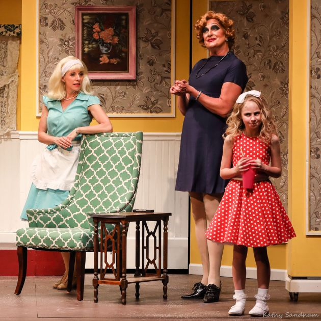 """Lindsey Mitchell, from left, as Mrs. Denmark, Matthew Wright as Sylvia St. Croix, and Calista Zajac as Tina Denmark in Beck Center's """"Ruthless"""". Photo 