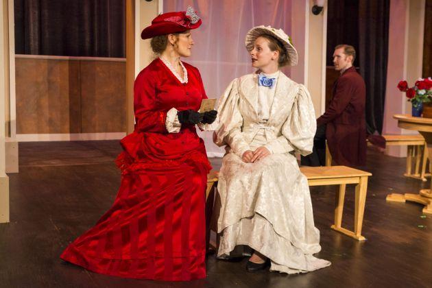 "Heather Anderson Boll as Mrs. Erlynne, from left, Rachel Lee Kolis as Lady Windermere, and Chris Ross as Lord Windermere in Mamai's ""Lady Windermere's Fan"". Photo|Bob Perkoski"