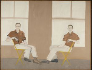 """Double Portrait of Robert Rauschenberg,"" 1959. Alex Katz (American, b. 1927). Oil on canvas; 167.6 x 217.2 cm. Colby College Museum of Art, Museum purchase made possible by Peter and Paula Lunder through the Lunder Foundation, Michael Gordon '66, Barbara and Theodore Alfond through the Acorn Foundation, and the Jere Abbott Acquisitions Fund, 2016.190. Art © Alex Katz / Licensed by VAGA, New York, NY."