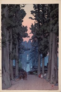 """Cryptomeria Avenue"" by Hiroshi Yoshida, 1937; color woodblock print. 14 7/8 x 9 3/4 inches. Image courtesy of the Allen Memorial Art Museum."