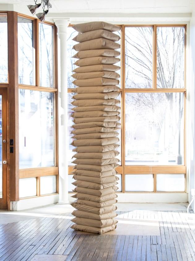"""Infinite Sleep"" (2018). Prisoner-produced pillows, dimensions variable. Artwork courtesy of the artist."