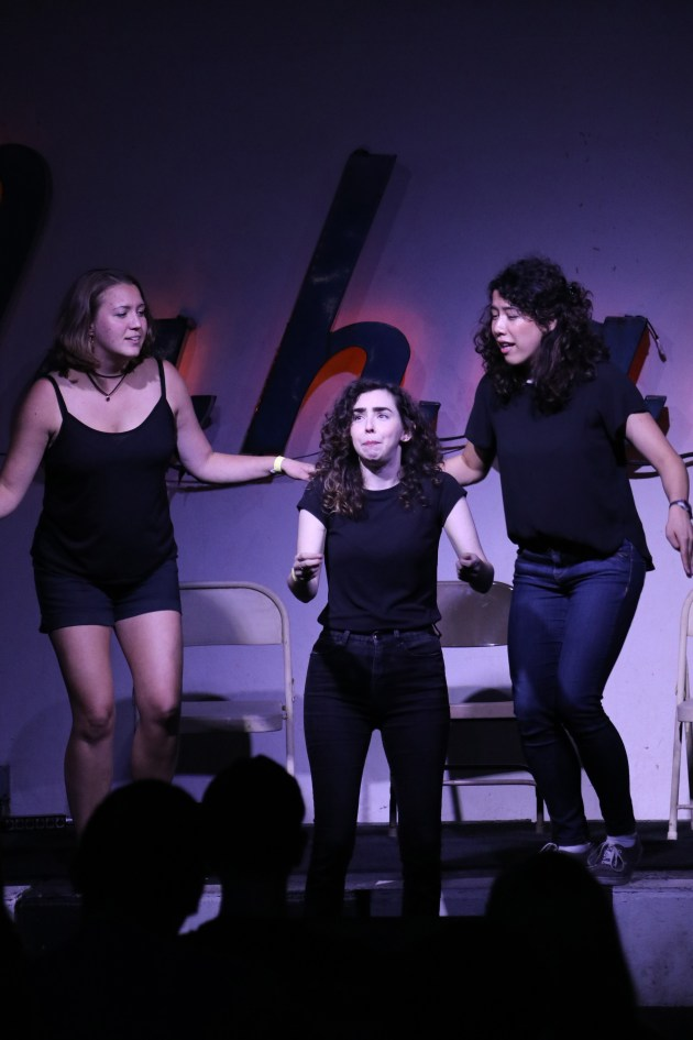 From left, Lindsey Brenkus, Lisa Perrin and Carolyn Chan perform as part of Asking for a Friend at Mahall's in Lakewood.
