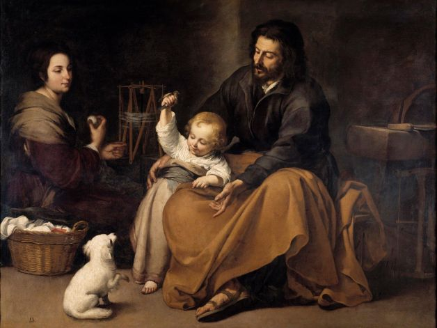 La virgen hila en 'La sagrada familia del pajarito' de Murillo.