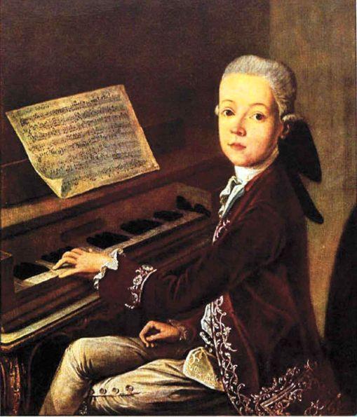 Wolfgang Amadeus Mozart de niño.