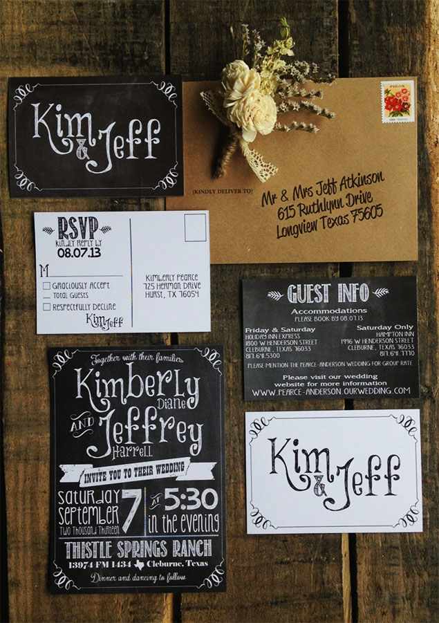 Cape Town Wedding Invites Chalk