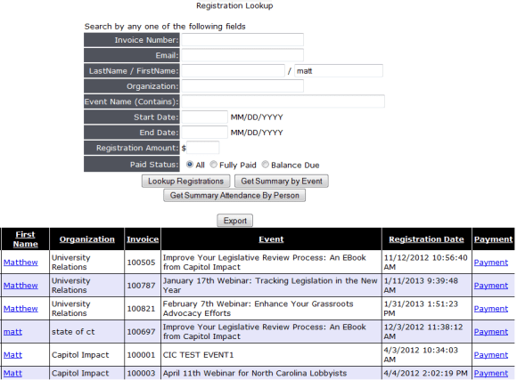 Reporting/Exporting