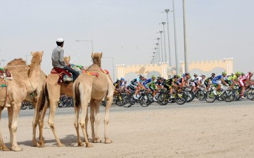 The peloton on stage five of the 2012 Tour of Qatar