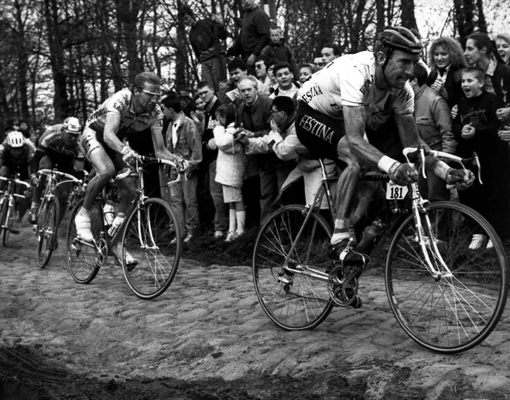 Sean Kelly en Adrie v.d. Poel, foto Cor Vos©1998 Kasseien-Parijs-Roubaix
