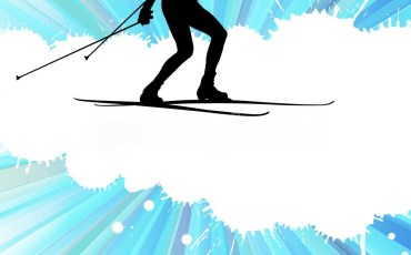 Cross country skiing vector background with white color splashes concept
