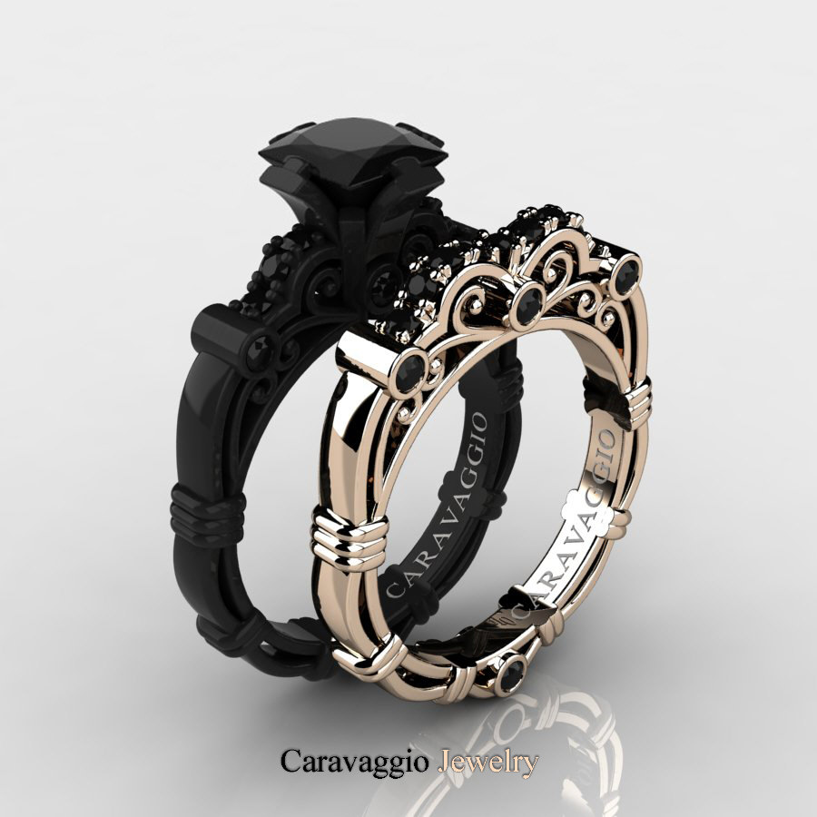 black hills gold 1 20 carat tw diamonds 10k gold mens band black gold wedding band Hover to zoom