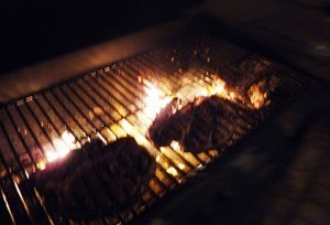 Lamb chops on the grill.