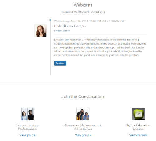 linkedin webcasts and groups