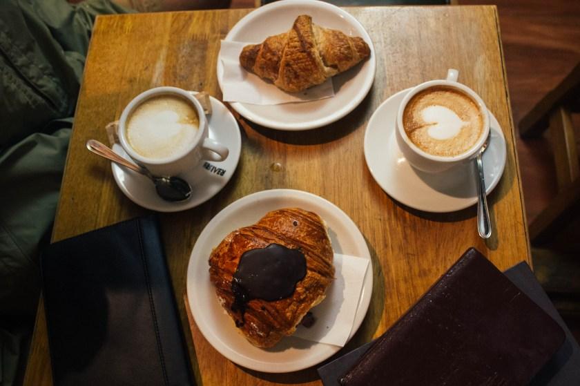 Rainy day caffee latte in Siena