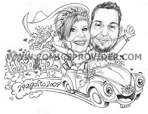 caricatura sposi sul maggiolino
