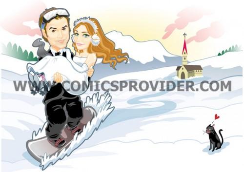Caricatura sposi in snowboard